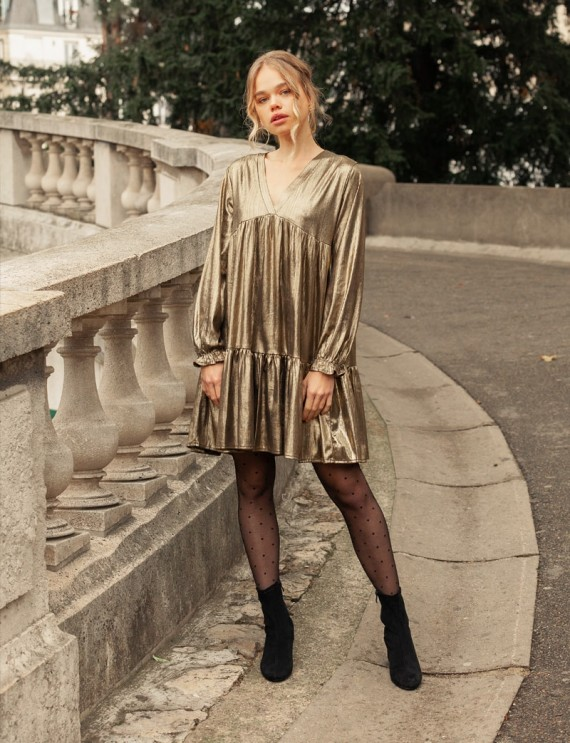 Robe courte dorée