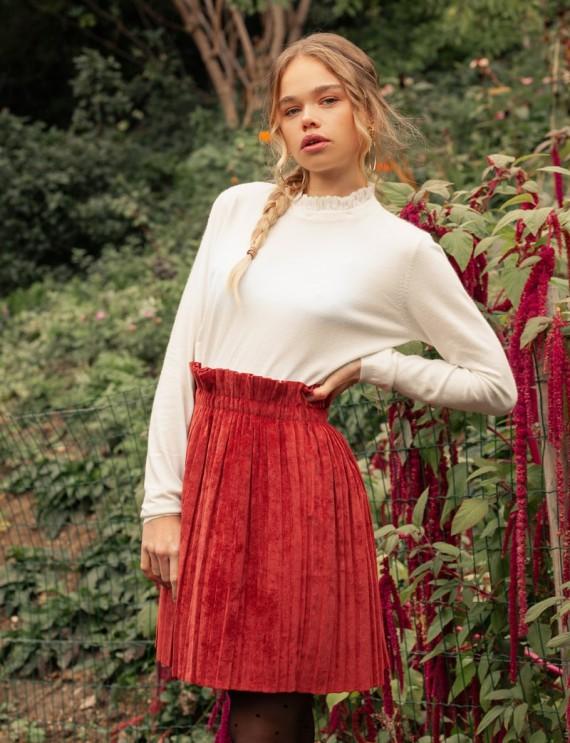 Jupe en velours rouge Faustine
