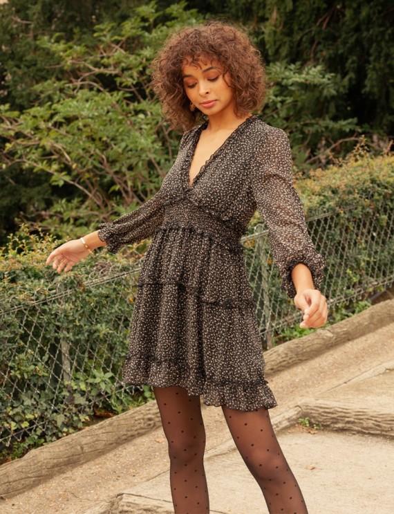 Lucie black floral dress