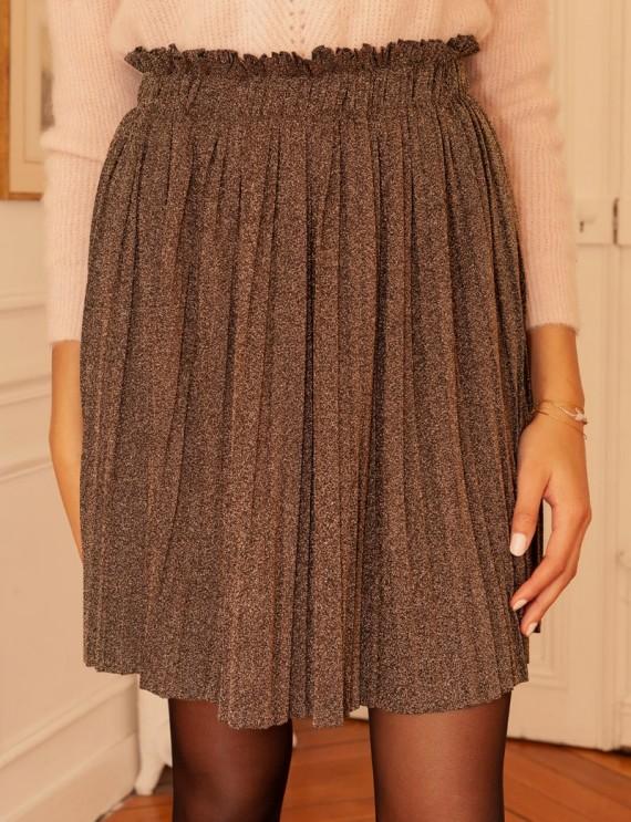 Bronze pleated Carole skirt