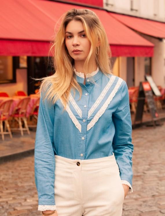 Chemise bleue et blanche Madeline