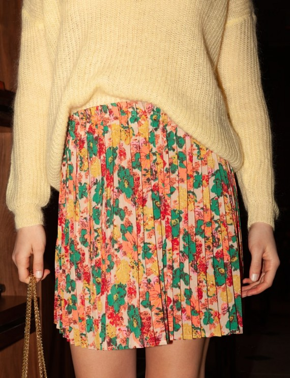 Floral pleated Daurine skirt