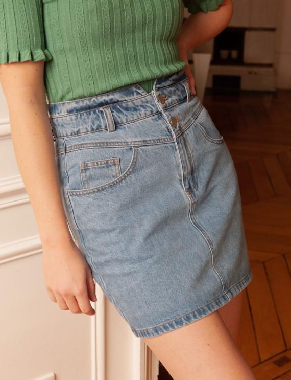 Jupe en jean bleu clair Perrine