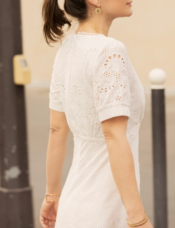Dos robe mi-longue blanche Nina