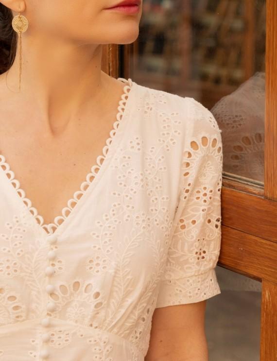 Encolure robe mi-longue blanche Nina