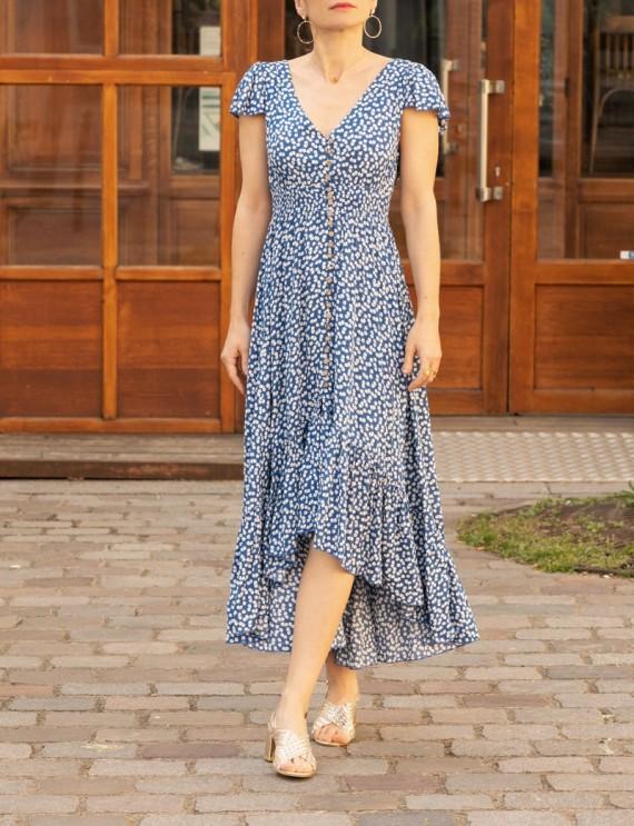 Robe fleurie bleu marine Olivia