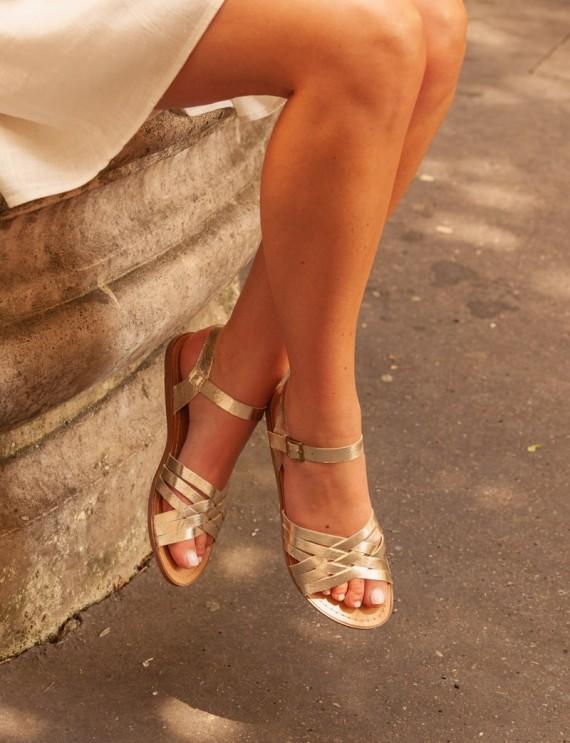Sandales plates dorées Sarella