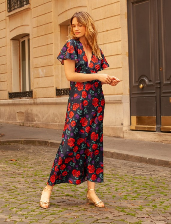 Long navy floral Livia dress