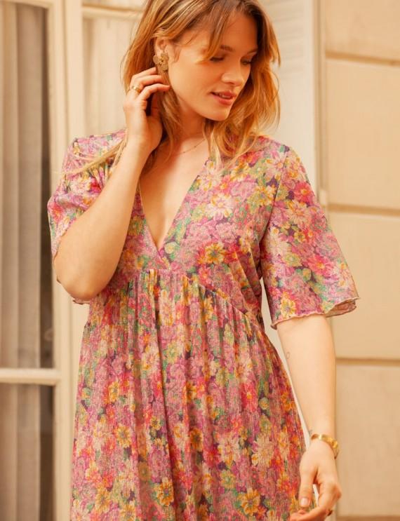 Devant robe longue fleurie Alicia