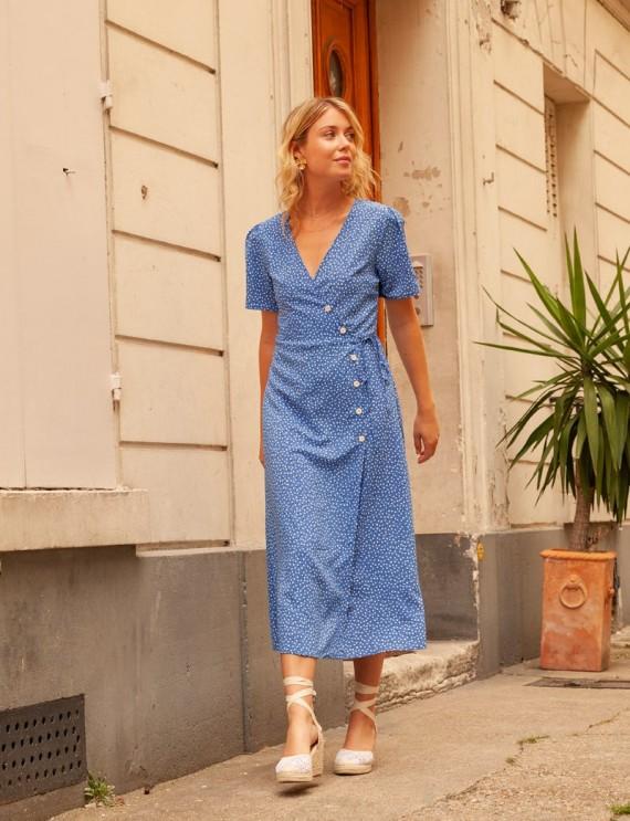 Robe midi bleue Suzette