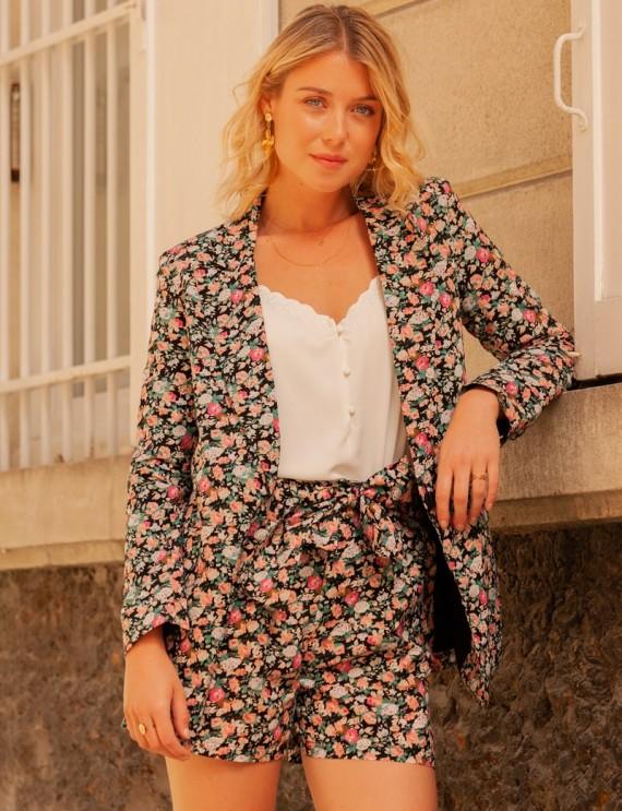 Veste noire à fleurs Niza