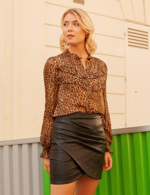 Blouse léopard Andréa et jupe noire