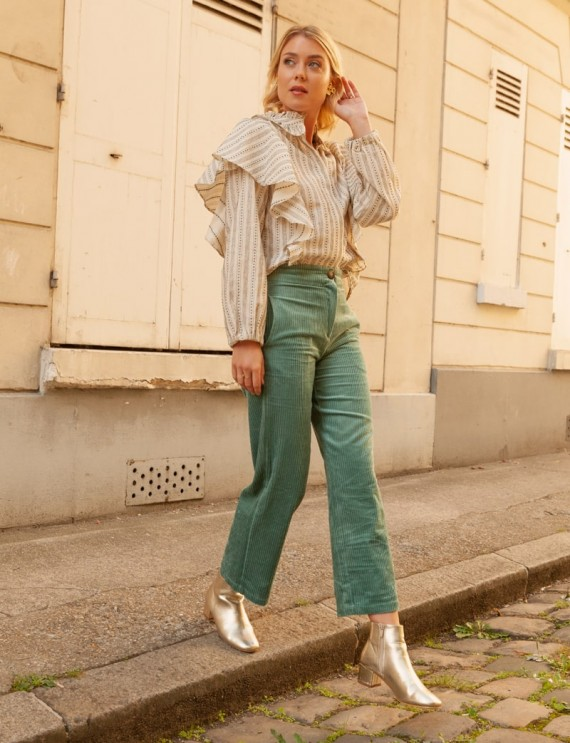 Pantalon en velours vert Louis et chemise