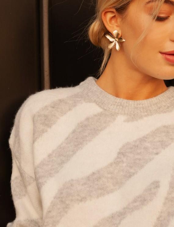 Col pull blanc et gris Mathis