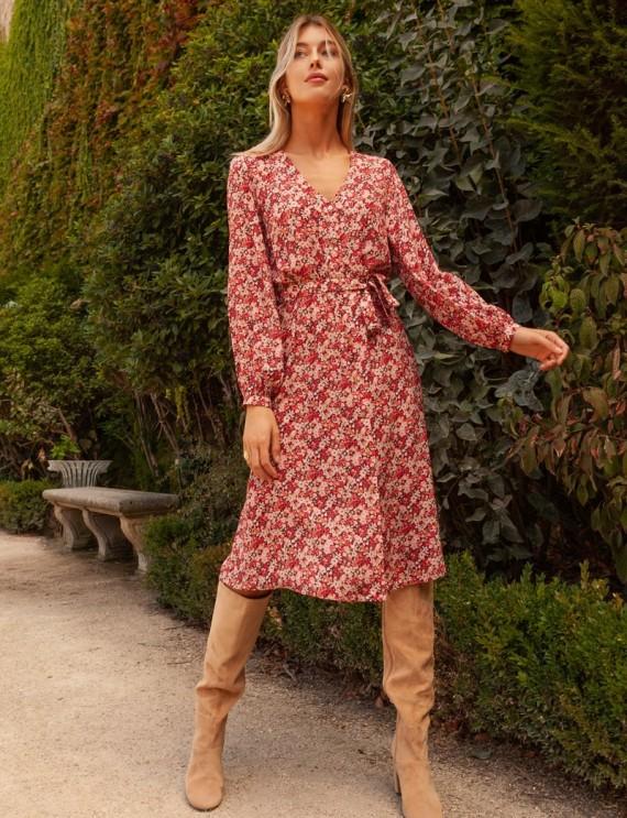 Burgundy floral Grace dress
