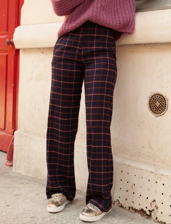 Pantalon à carreaux marine Alvin