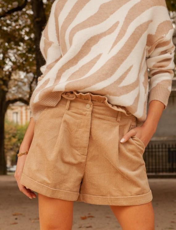 Short en velours beige Ivann