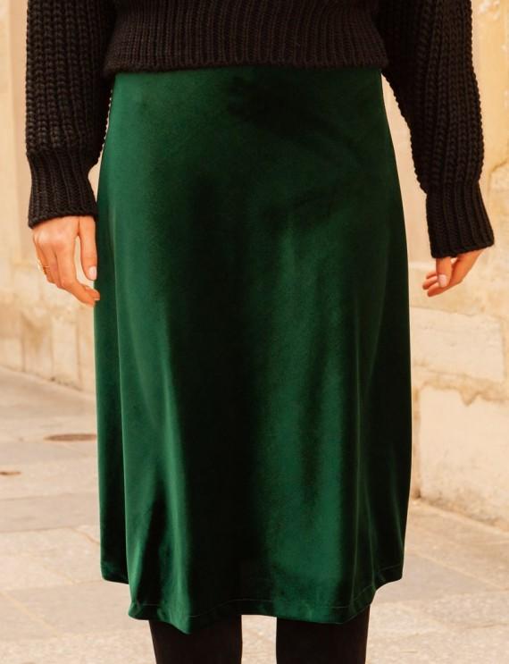 Jupe en velours vert Milvia