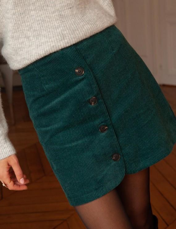 Jupe en velours côtelé vert Roxane