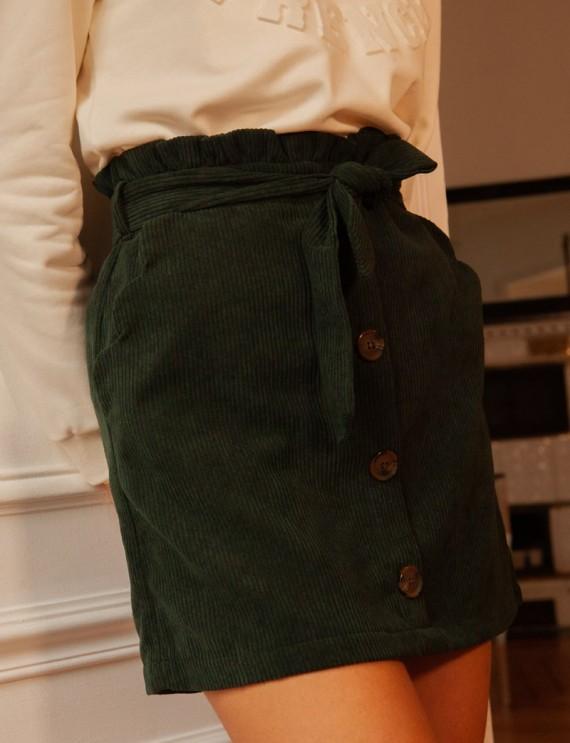 Green Zoé corduroy skirt