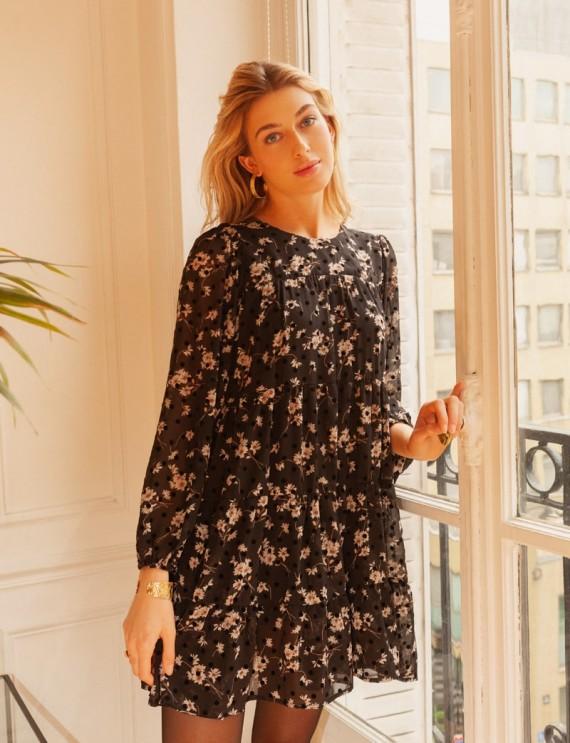 Robe noire fleurie Sarita