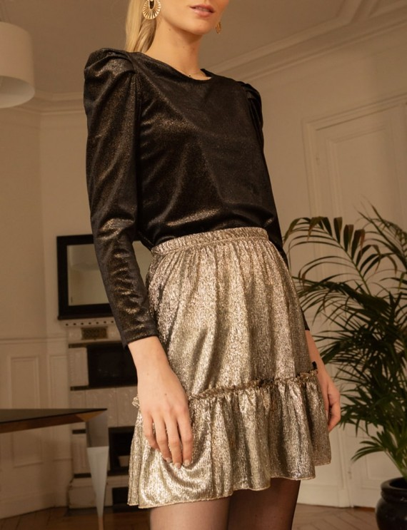 Top et jupe courte dorée Tina