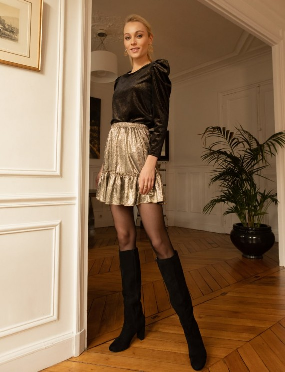 Look jupe courte dorée Tina