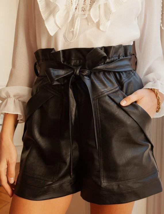 Short effet cuir noir Mewen