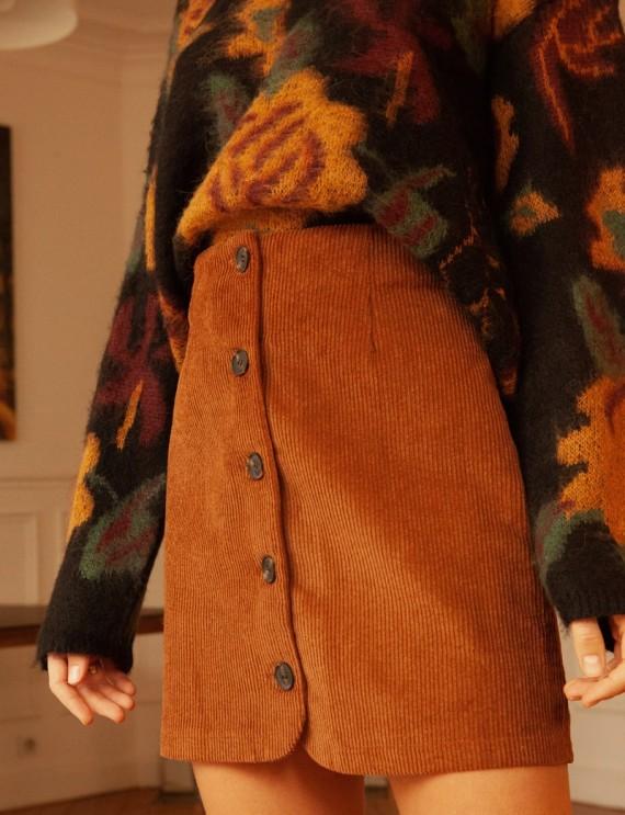 Camel Roxane corduroy skirt