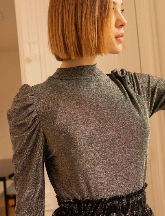 Silver iridescent Mael top