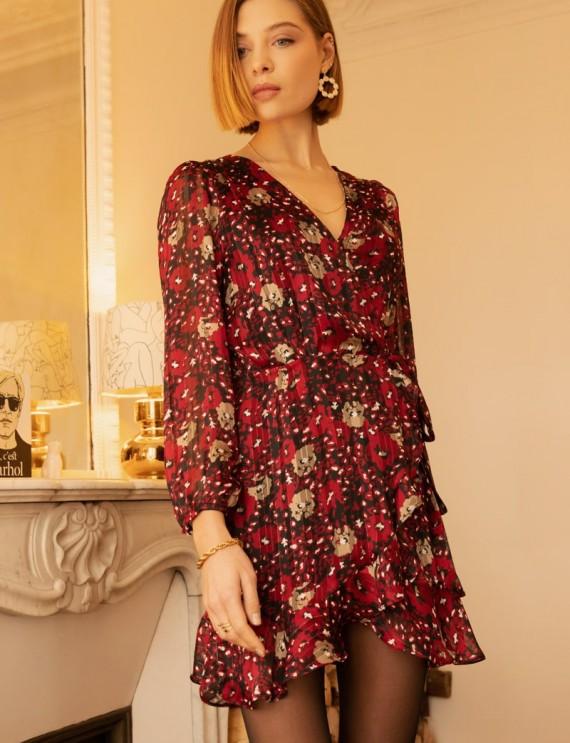 Robe courte portefeuille fleurie Masha