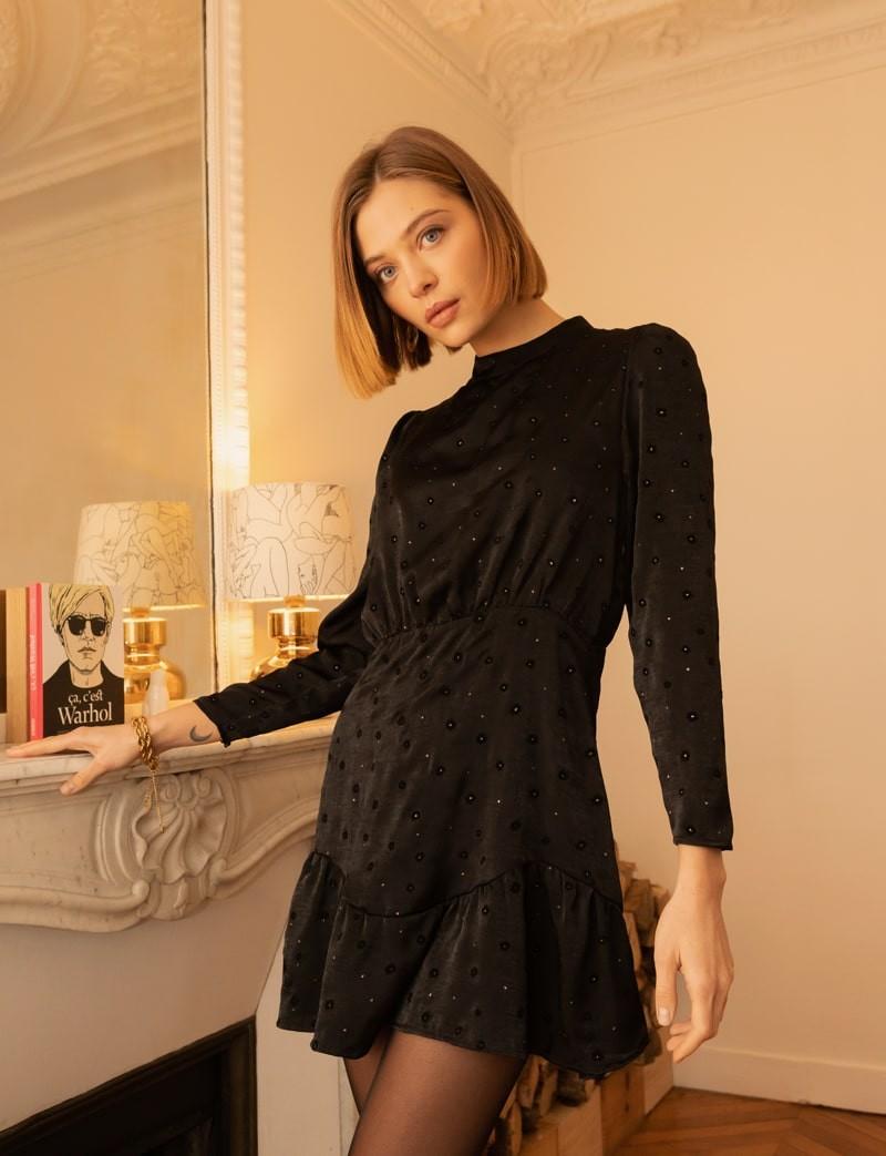 Robe en satin noir Darya