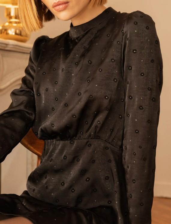 Motifs robe en satin noir Darya