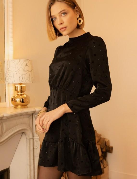 Robe noire satinée Darya