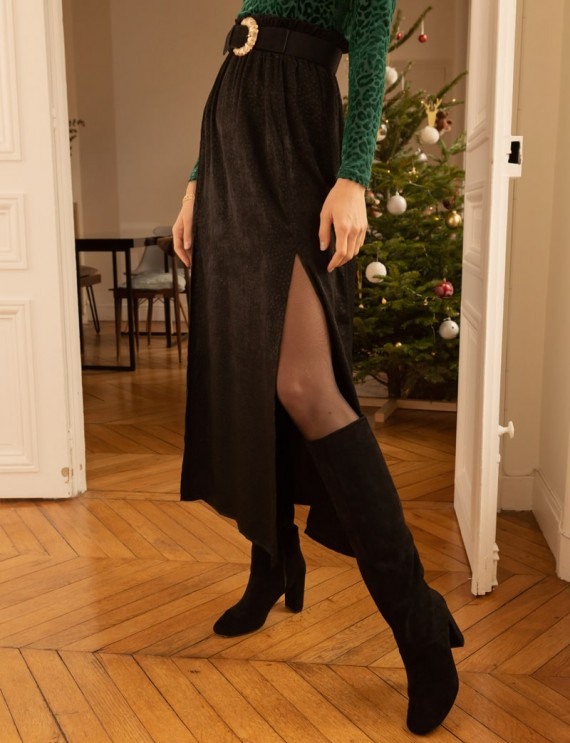 Long black satin Sofia skirt