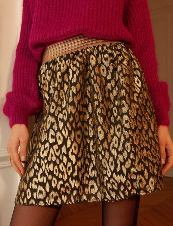 Jupe noire et dorée léopard Amila