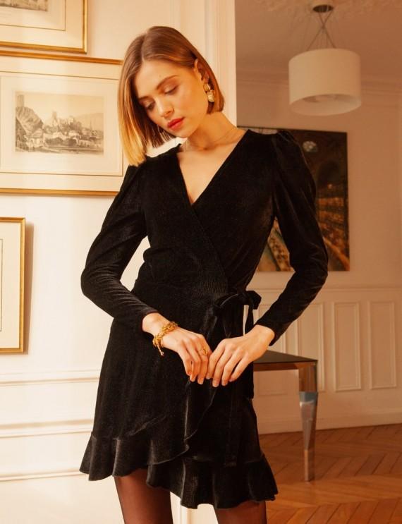 Robe portefeuille en velours noir Jade