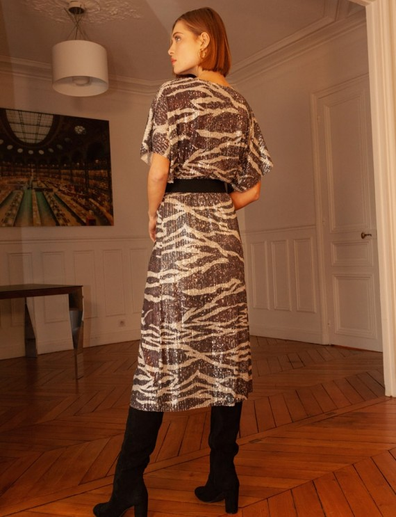 Dos robe midi à sequins Alba