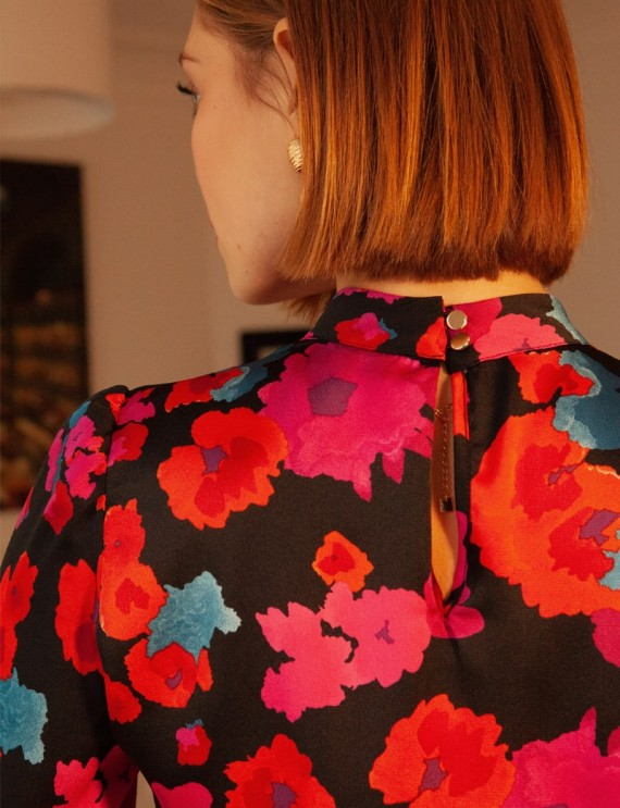 Dos robe noire fleurie Dalya