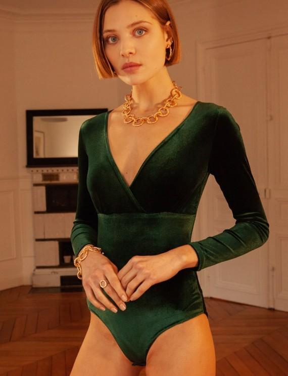 Body en velours vert Dali