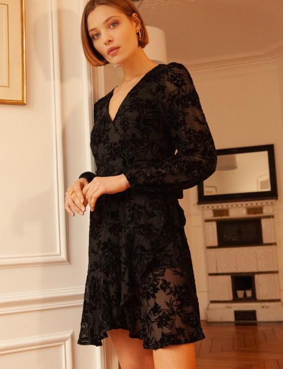 Robe portefeuille noire Edith