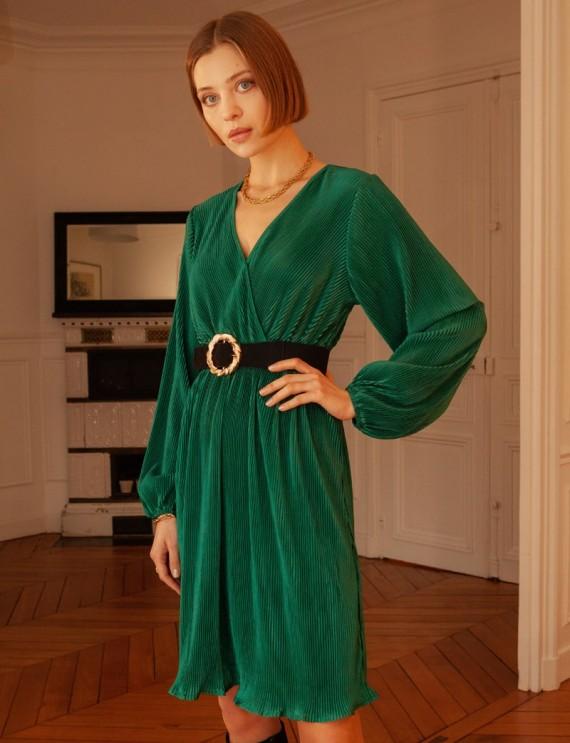 Robe verte plissée Valentina