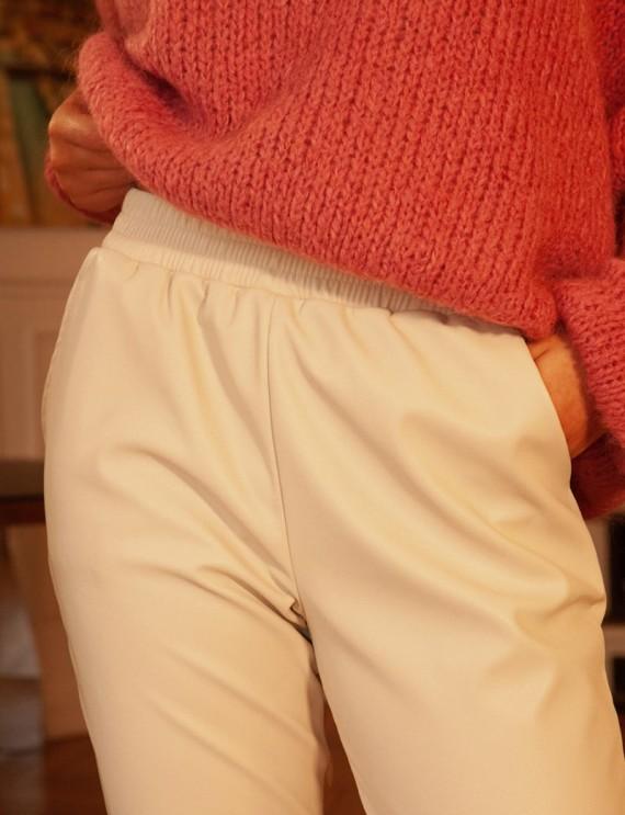 Taille pantalon effet cuir beige Brice