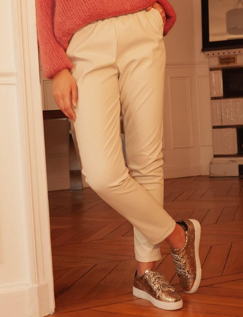 Pantalon effet cuir beige Brice