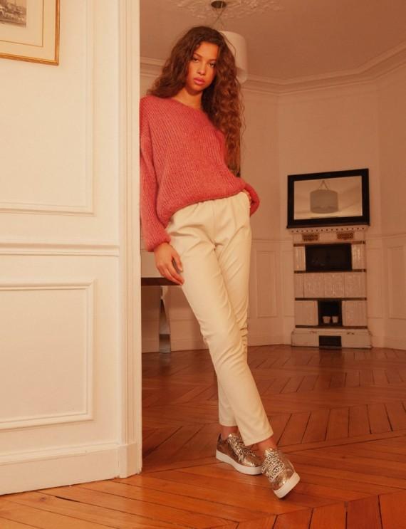 Look pantalon effet cuir beige Brice