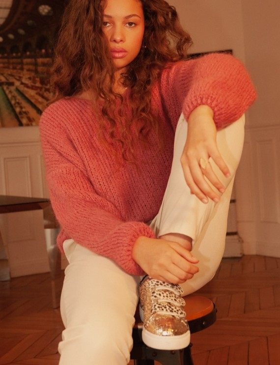 Pull et pantalon effet cuir beige Brice