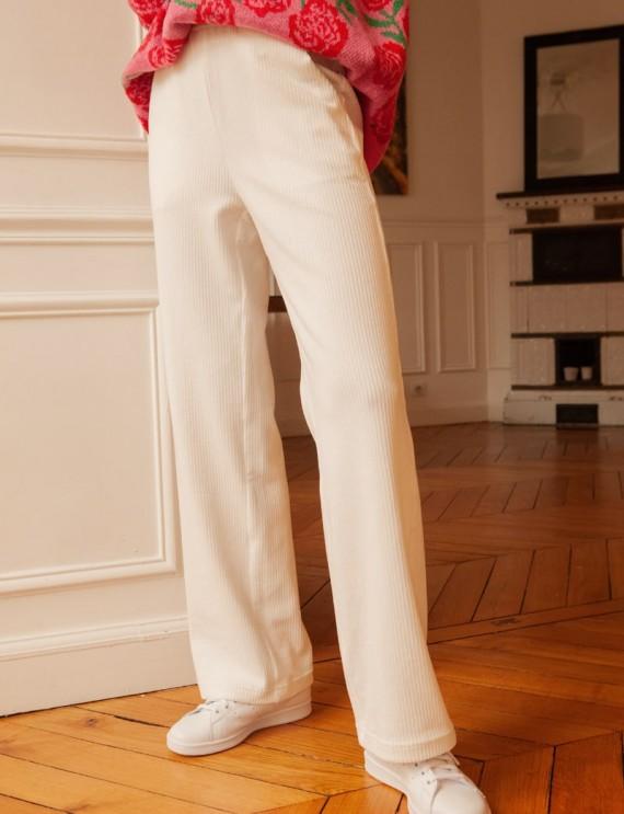 Pantalon en velours côtelé blanc Maxime