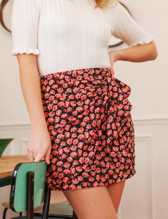 Jupe noire fleurie Rania
