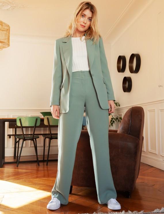 Total look pantalon vert céladon Sammy