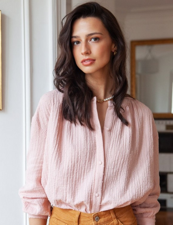 Blouse rose en gaze de coton plumetis Carmen